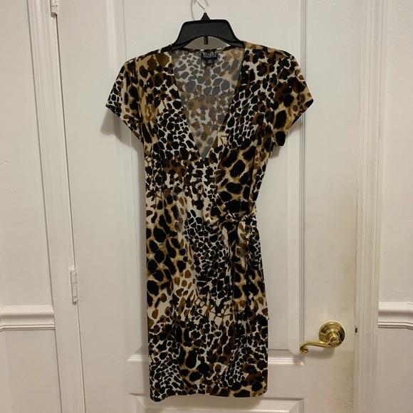 Soho Apparel Dresses & Skirts - Leopard Print Tie Wrap Dress Womens Size 6p